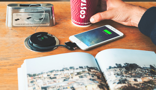 wireless charging for smartphones in Costa Coffee