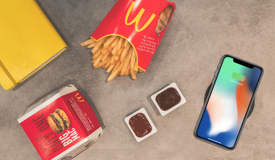 Wireless charging for fast-food