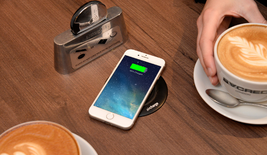 Wireless charging for bar, cafes and coffee shops