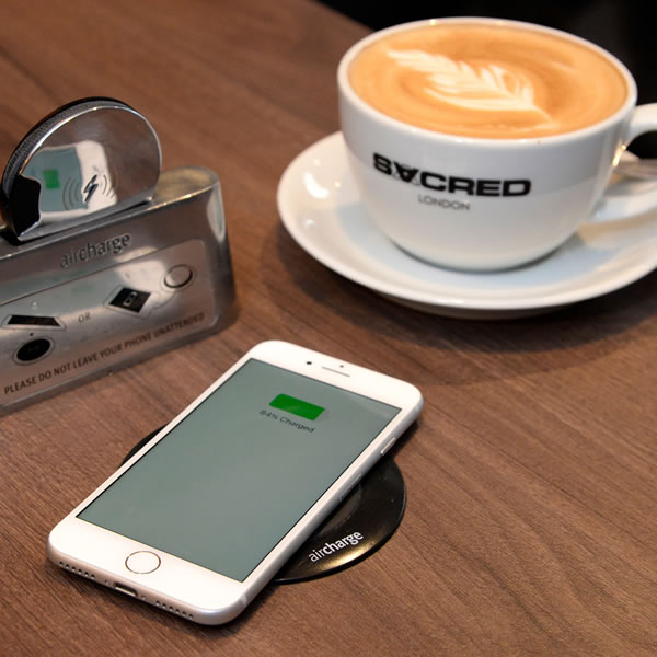 Wireless charging for coffee shops